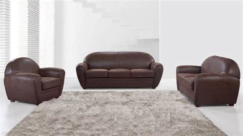 canapé plus fauteuil salon en microfibre imitation vintage avec canapé 3