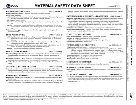 Abro Spray Paint Material Safety Data Sheet Spray