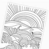 Coloring Ocean Sunset Waves Printable Printables Digital Paper sketch template