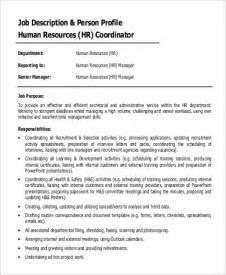 Hr Coordinator Description Sle by Sle Hr Coordinator Description 9 Exles In Word Pdf