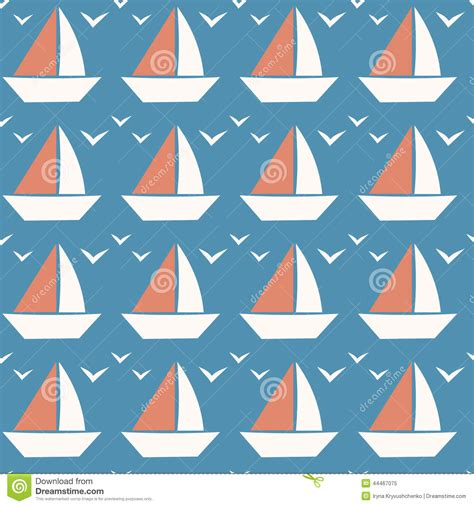 Tiny Boat Cartoon by Little Boat Seamless Pattern Tiny Boat On Blue Background