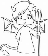 Demon Cute Coloring Pages Printable Devil Cartoon Categories Children sketch template