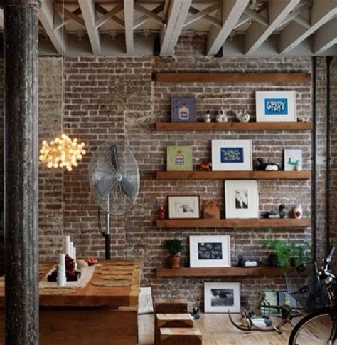 floating shelves  feature wall project house brick