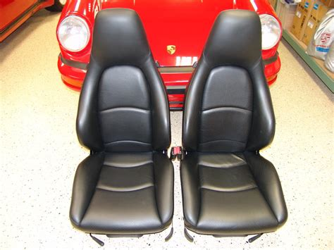 sold genuine porsche black leather sport seats