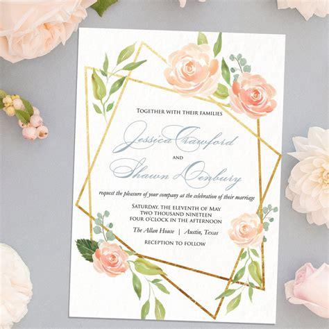 modern geometric floral wedding invitation flat printing