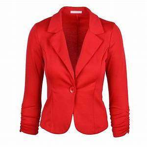 Womens Red Blazer Jacket - Trendy Clothes
