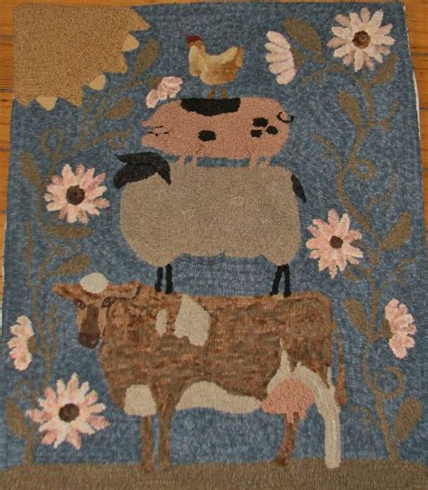 Primitive Rugs With - primitive hooked rug pattern on monks quot farm friends large