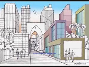 How to draw an urban scenery by miandza - YouTube