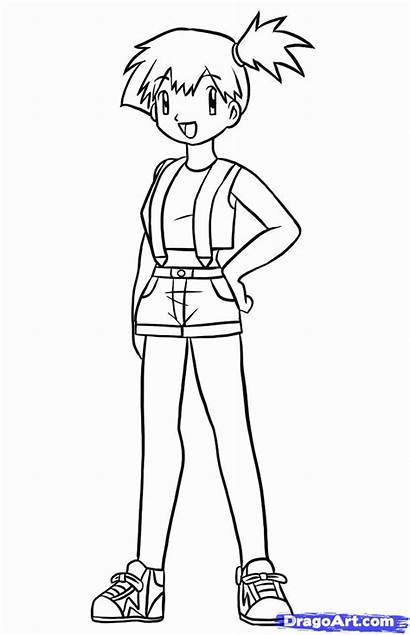 Misty Pokemon Coloring Draw Pages Drawing Step