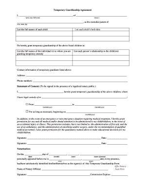 20842 temporary guardianship forms temporary guardianship formpdffillercom fill