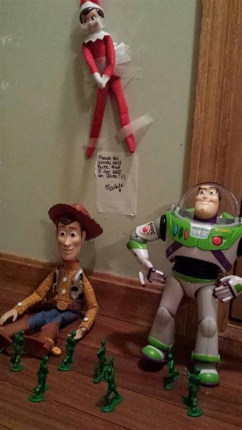 woody  buzz im   alien elf   shelf toy story elf   shelf
