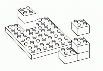 Lego Coloring Clipart Blocks Block Pieces Outline