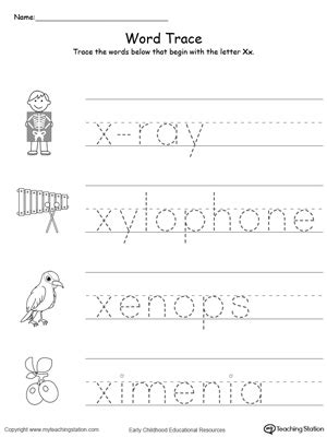 letter x printable alphabet flash cards for preschoolers 456 | Tracing Words That Begin With Letter Sound X