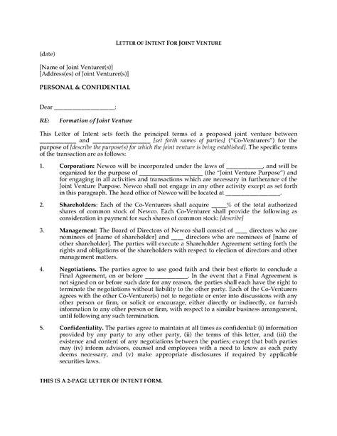 letter  intent  form joint venture legal forms