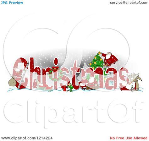 clipart   word christmas  santa  claus elves