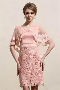 Robe Mariage Dentelle : robe fourreau rose courte pour mariage avec cape festonn e ~ Mglfilm.com Idées de Décoration