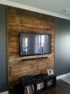 Mur Tv Bois : mur de salon en bois de grange recherche google ~ Teatrodelosmanantiales.com Idées de Décoration