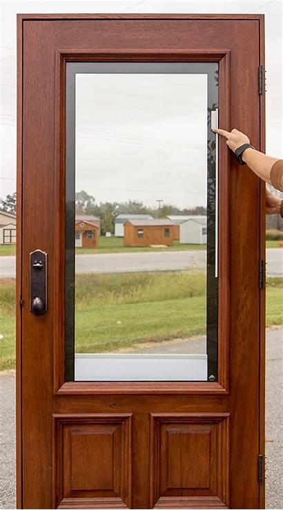 Glass Between Doors Door Exterior Blinds Wood