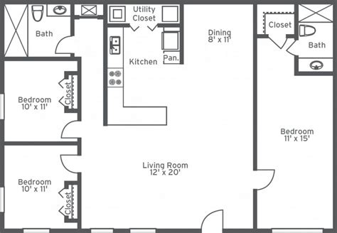 2 Bedroom 1 Bath Floor Plans by Awesome Simple 3 Bedroom 2 Bath House Plans New Home