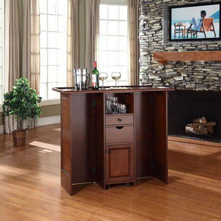 Folding Home Bar by Crosley Mobile Folding Home Bar In Vintage Mahogany Finish
