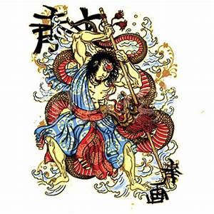 Samurai Fighting A Dragon - T-Shirt