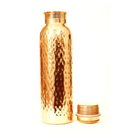 pure copper hammered water bottle diamond cut  ml  fare