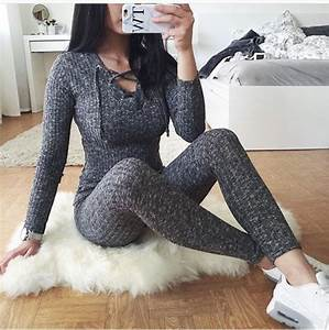 Jumpsuit grey jumpsuit knitted jumpsuit girl grey women beautiful tumblr sexy playsuits ...
