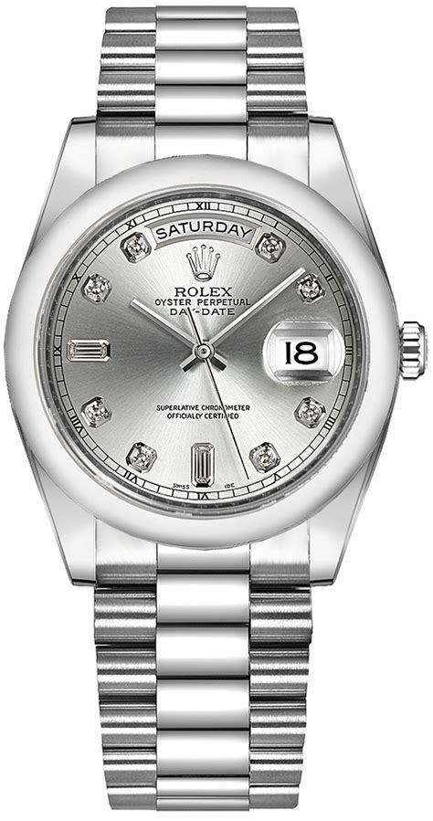 Authentic Rolex Day-Date 118206 Silver Diamond Dial Watch