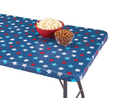 fitted table covers elastic patriotic americana star pattern elastic fitted table