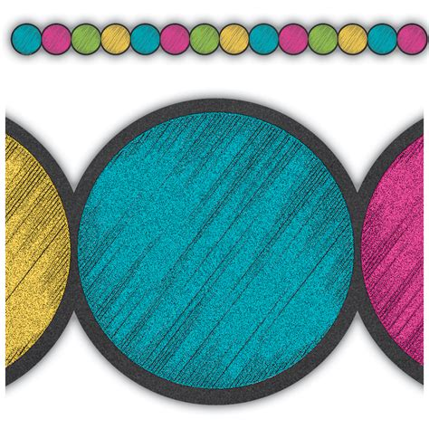 chalkboard brights circles die cut border trim tcr