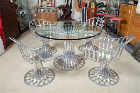 woodard aluminum patio furniture table and two
