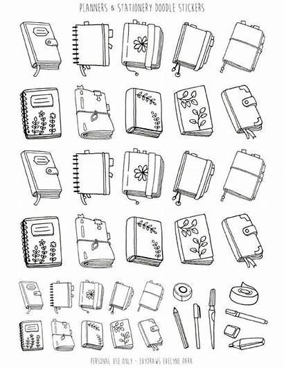 Doodles Doodle Planner Stickers Printable Coloring Journal