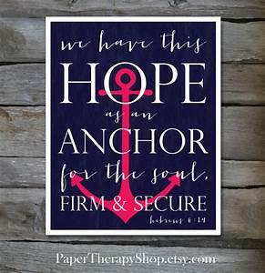 Hope as an ANCHOR Bible Verse 8 x10 print Hebrews 6:19 in Navy