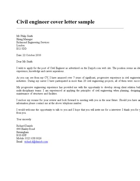 civil engineering resume cover letter templates