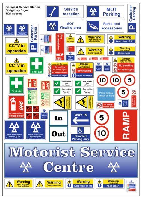garage  service station obligatory signs