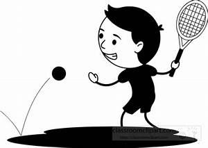 Sports Clipart- black-white-hitting-tennis-ball-forehad ...