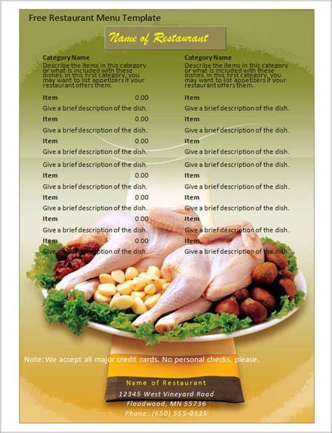 great printable food menu templates sample templates