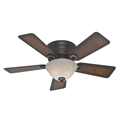 low profile ceiling fan with light hunter conroy 42 in indoor onyx bengal bronze low profile