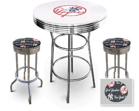 New York Yankees Glass White Top Chrome Bar Pub Table Set