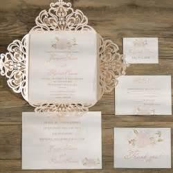 wedding invites blush pink flower laser cut wedding invitation iwsm049 wedding invitations