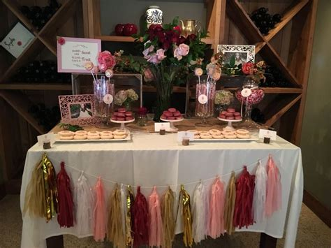 burgundy pink gold dessert table blush bridal showers