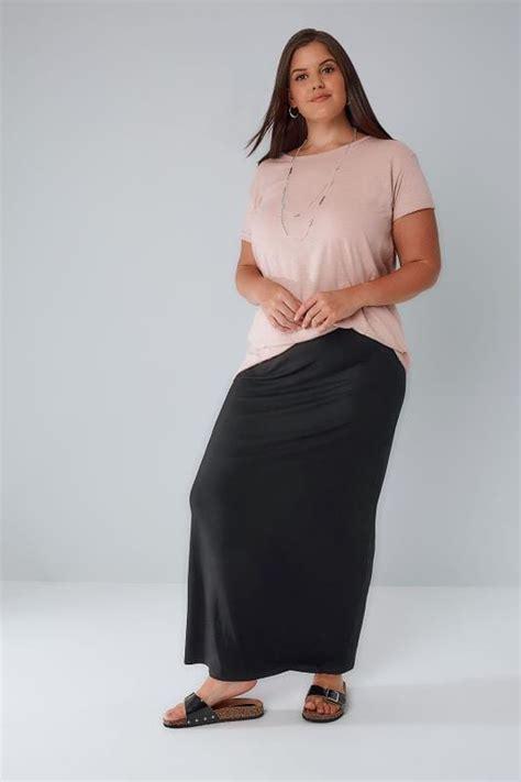 black jersey maxi tube skirt  elasticated waistband