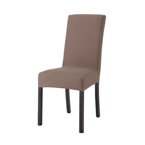 housse de chaise en coton taupe margaux maisons du monde