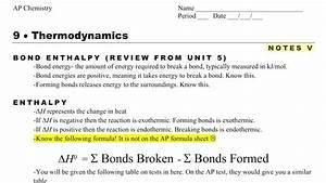 Ap Chemistry Notes 9 5- Bonds Enthalpy