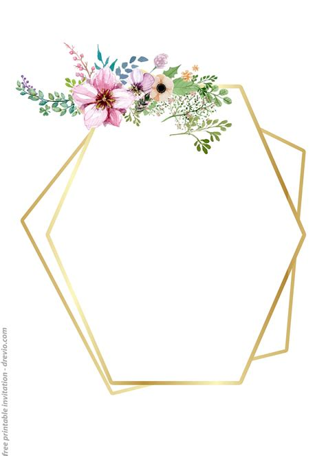 printable golden floral frame invitation templates