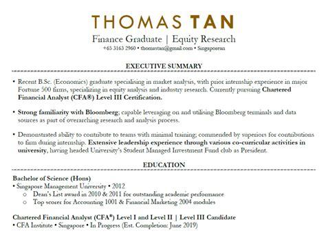 fresh graduate resume sample singapore cv template