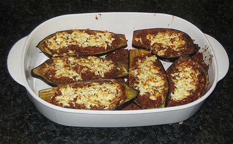 gefuellte auberginen mit schafskaese ueberbacken von