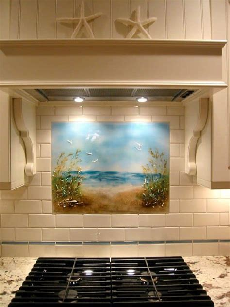 kitchen tile backsplash murals various creative arts of tropical themed backsplash can be