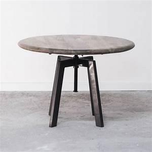 Table Basse Metal Ronde : table basse de salon ronde industrielle en bois et m tal r glable ~ Teatrodelosmanantiales.com Idées de Décoration