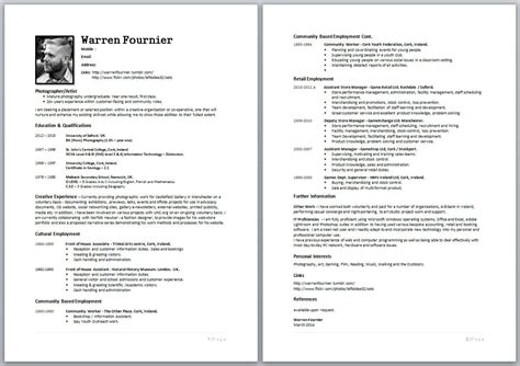 cv writing professional frameworks ii photography